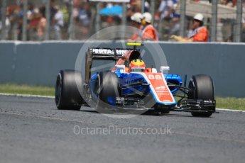 World © Octane Photographic Ltd. Manor Racing MRT05 – Rio Haryanto. Sunday 15th May 2016, F1 Spanish GP Race, Circuit de Barcelona Catalunya, Spain. Digital Ref :