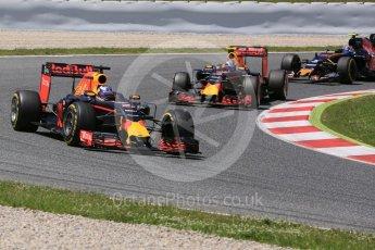World © Octane Photographic Ltd. Red Bull Racing RB12 – Daniel Ricciardo and Max Verstappen lead Scuderia Toro Rosso STR11 – Carlos Sainz. Sunday 15th May 2016, F1 Spanish GP Race, Circuit de Barcelona Catalunya, Spain. Digital Ref :