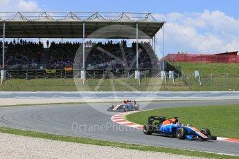 World © Octane Photographic Ltd. Manor Racing MRT05 - Pascal Wehrlein and Rio Haryanto. Sunday 15th May 2016, F1 Spanish GP Race, Circuit de Barcelona Catalunya, Spain. Digital Ref :