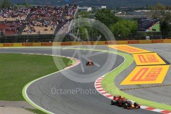 World © Octane Photographic Ltd. Red Bull Racing RB12 – Daniel Ricciardo and Max Verstappen. Sunday 15th May 2016, F1 Spanish GP Race, Circuit de Barcelona Catalunya, Spain. Digital Ref :
