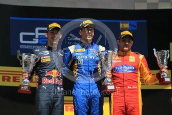 World © Octane Photographic Ltd. DAMS – Alex Lynn (1st), Prema Racing Pierre Gasly (2nd) and Racing Engineering – Jordan King (3rd). Sunday 15th May 2016, GP2 Race 2, Circuit de Barcelona Catalunya, Spain. Digital Ref :1551CB1D1159