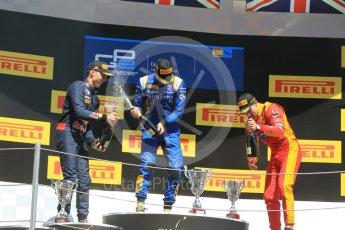 World © Octane Photographic Ltd. DAMS – Alex Lynn (1st), Prema Racing Pierre Gasly (2nd) and Racing Engineering – Jordan King (3rd). Sunday 15th May 2016, GP2 Race 2, Circuit de Barcelona Catalunya, Spain. Digital Ref :1551CB1D1166