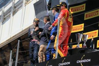 World © Octane Photographic Ltd. DAMS – Alex Lynn (1st), Prema Racing Pierre Gasly (2nd) and Racing Engineering – Jordan King (3rd). Sunday 15th May 2016, GP2 Race 2, Circuit de Barcelona Catalunya, Spain. Digital Ref :1551CB1D1223