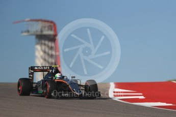 World © Octane Photographic Ltd. Sahara Force India VJM09 Development Driver – Alfonso Celis. Friday 21st October 2016, F1 USA Grand Prix Practice 1, Austin, Texas – Circuit of the Americas (COTA). Digital Ref :1742LB1D0124