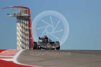 World © Octane Photographic Ltd. Scuderia Toro Rosso STR11 with Halo – Daniil Kvyat. Friday 21st October 2016, F1 USA Grand Prix Practice 1, Austin, Texas – Circuit of the Americas (COTA). Digital Ref :1742LB1D0257