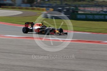 World © Octane Photographic Ltd. Red Bull Racing RB12 – Max Verstappen. Friday 21st October 2016, F1 USA Grand Prix Practice 1, Austin, Texas – Circuit of the Americas (COTA). Digital Ref :1742LB2D4938