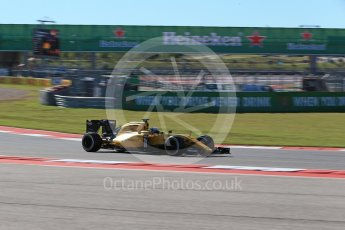 World © Octane Photographic Ltd. Renault Sport F1 Team RS16 – Jolyon Palmer. Friday 21st October 2016, F1 USA Grand Prix Practice 1, Austin, Texas – Circuit of the Americas (COTA). Digital Ref :1742LB2D4973
