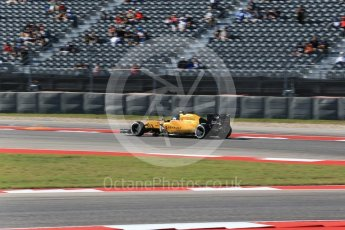 World © Octane Photographic Ltd. Renault Sport F1 Team RS16 – Jolyon Palmer. Friday 21st October 2016, F1 USA Grand Prix Practice 1, Austin, Texas – Circuit of the Americas (COTA). Digital Ref :1742LB2D4987