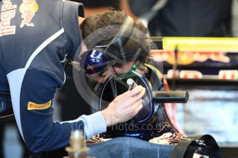 World © Octane Photographic Ltd. Red Bull Racing RB12 getting the air intake inspected– Daniel Ricciardo. Saturday 22nd October 2016, F1 USA Grand Prix Practice 3, Austin, Texas – Circuit of the Americas (COTA). Digital Ref :1745LB1D1625