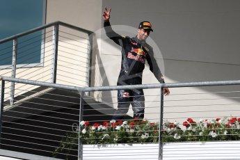 World © Octane Photographic Ltd. Red Bull Racing RB12 – Daniel Ricciardo (3rd). Sunday 23rd October 2016, F1 USA Grand Prix Podium, Austin, Texas – Circuit of the Americas (COTA). Digital Ref : 1750LB1D4170