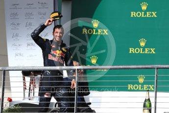 World © Octane Photographic Ltd. Red Bull Racing RB12 – Daniel Ricciardo (3rd). Sunday 23rd October 2016, F1 USA Grand Prix Podium, Austin, Texas – Circuit of the Americas (COTA). Digital Ref : 1750LB1D4182