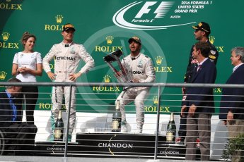 World © Octane Photographic Ltd. Mercedes AMG Petronas – Lewis Hamilton (1st) and Nico Rosberg (2nd) and Red Bull Racing – Daniel Ricciardo (3rd) with Victoria Vowels - Mercedes Partner Services Director. Sunday 23rd October 2016, F1 USA Grand Prix Podium, Austin, Texas – Circuit of the Americas (COTA). Digital Ref :1750LB1D4325