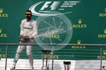 World © Octane Photographic Ltd. Mercedes AMG Petronas – Lewis Hamilton (1st) . Sunday 23rd October 2016, F1 USA Grand Prix Podium, Austin, Texas – Circuit of the Americas (COTA). Digital Ref :1750LB1D4443