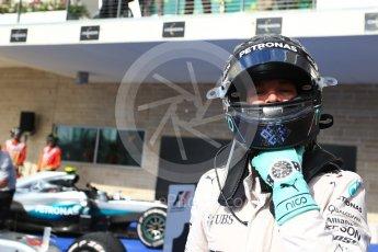 World © Octane Photographic Ltd. Mercedes AMG Petronas W07 Hybrid – Nico Rosberg (2nd). Sunday 23rd October 2016, F1 USA Grand Prix Parc Ferme, Austin, Texas – Circuit of the Americas (COTA). Digital Ref :1750LB2D6008