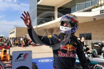 World © Octane Photographic Ltd. Red Bull Racing RB12 – Daniel Ricciardo (3rd). Sunday 23rd October 2016, F1 USA Grand Prix Parc Ferme, Austin, Texas – Circuit of the Americas (COTA). Digital Ref :1750LB2D6178