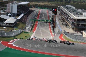 World © Octane Photographic Ltd. Mercedes AMG Petronas W07 Hybrid – Lewis Hamilton leads into turn 1. Sunday 23rd October 2016, F1 USA Grand Prix Race, Austin, Texas – Circuit of the Americas (COTA). Digital Ref :1749LB1D3599