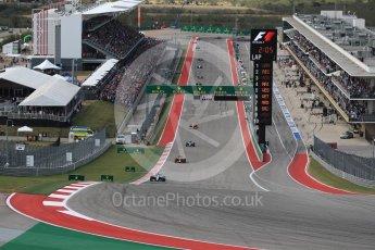 World © Octane Photographic Ltd. Mercedes AMG Petronas W07 Hybrid – Lewis Hamilton leads at the end of lap 1. Sunday 23rd October 2016, F1 USA Grand Prix Race, Austin, Texas – Circuit of the Americas (COTA). Digital Ref :1749LB1D3541