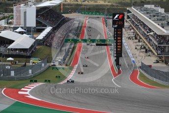 World © Octane Photographic Ltd. Mercedes AMG Petronas W07 Hybrid – Lewis Hamilton leads the start of lap 2. Sunday 23rd October 2016, F1 USA Grand Prix Race, Austin, Texas – Circuit of the Americas (COTA). Digital Ref :1749LB1D3627