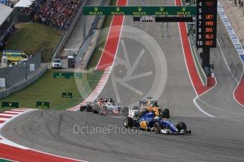 World © Octane Photographic Ltd. Sauber F1 Team C35 – Marcus Ericsson and Renault Sport F1 Team RS16 – Jolyon Palmer. Sunday 23rd October 2016, F1 USA Grand Prix Race, Austin, Texas – Circuit of the Americas (COTA). Digital Ref :1749LB1D3666