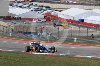 World © Octane Photographic Ltd. Sauber F1 Team C35 – Marcus Ericsson. Sunday 23rd October 2016, F1 USA Grand Prix Race, Austin, Texas – Circuit of the Americas (COTA). Digital Ref :1749LB1D3785