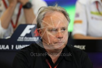 World © Octane Photographic Ltd. F1 USA Grand Prix Practice 2, Austin Texas – Circuit of the Americas (COTA) FIA Personnel Press Conference. Friday 21st October 2016. Gene Haas - Haas F1 Team Owner. Digital Ref :1744LB1D1410