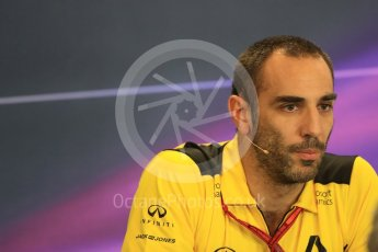 World © Octane Photographic Ltd. F1 USA Grand Prix Practice 2, Austin Texas – Circuit of the Americas (COTA) FIA Personnel Press Conference. Friday 21st October 2016. Cyril Abiteboul - Renault Sport F1 Team Managing Director. Digital Ref :1744LB1D1426