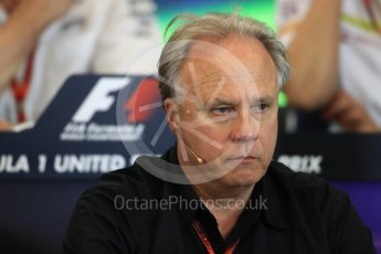 World © Octane Photographic Ltd. F1 USA Grand Prix Practice 2, Austin Texas – Circuit of the Americas (COTA) FIA Personnel Press Conference. Friday 21st October 2016. Gene Haas - Haas F1 Team Owner. Digital Ref :1744LB1D1432