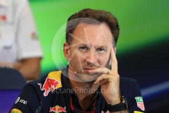 World © Octane Photographic Ltd. F1 USA Grand Prix Practice 2, Austin Texas – Circuit of the Americas (COTA) FIA Personnel Press Conference. Friday 21st October 2016. Christian Horner - Red Bull Racing Team Principal. Digital Ref :1744LB1D1462