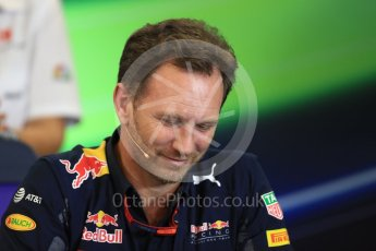 World © Octane Photographic Ltd. F1 USA Grand Prix Practice 2, Austin Texas – Circuit of the Americas (COTA) FIA Personnel Press Conference. Friday 21st October 2016. Christian Horner - Red Bull Racing Team Principal. Digital Ref :1744LB1D1522