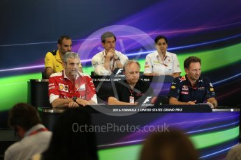 World © Octane Photographic Ltd. F1 USA Grand Prix Practice 2, Austin Texas – Circuit of the Americas (COTA) FIA Personnel Press Conference. Friday 21st October 2016. Cyril Abiteboul - Renault Sport F1 Team Managing Director, Maurizio Arrivabene – Scuderia Ferrari Team Principal, Gene Haas - Haas F1 Team Owner, Christian Horner - Red Bull Racing Team Principal, Monisha Kaltenborn – Sauber F1 Team Team Principal, Toto Wolff - Mercedes AMG Petronas Executive Director. Digital Ref :1744LB2D5266
