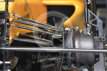World © Octane Photographic Ltd. Renault Sport F1 Team RS16 front brake and suspension. Thursday 20th October 2016, F1 USA Grand Prix, Austin, Texas – Circuit of the Americas (COTA). Digital Ref :
