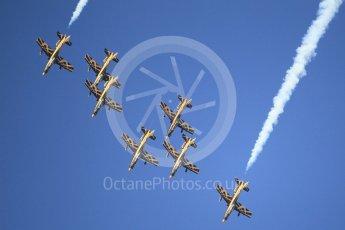 World © Octane Photographic Ltd. UAE Al Fursan (The Knights) Air Display Team – Aermacchi MB-339A. Saturday 25th November 2017, F1 Abu Dhabi GP - Yas Marina circuit, Abu Dhabi. Digital Ref : -2011CB1L7624