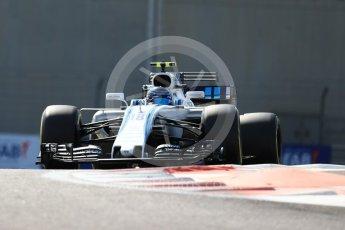 World © Octane Photographic Ltd. Formula 1 - Abu Dhabi Grand Prix - Friday Practice 1. Lance Stroll - Williams Martini Racing FW40. Yas Marina Circuit, Abu Dhabi. Friday 24th November 2017. Digital Ref: