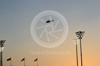 World © Octane Photographic Ltd. Formula 1 - Abu Dhabi Grand Prix - Friday - Practice 2. Helicopter flying at sunset. Yas Marina Circuit, Abu Dhabi. Friday 24th November 2017. Digital Ref: 2003CB1L6664