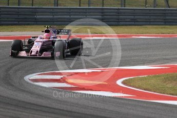 World © Octane Photographic Ltd. Formula 1 - American Grand Prix - Friday - Practice 2. Esteban Ocon - Sahara Force India VJM10. Circuit of the Americas, Austin, Texas, USA. Friday 20th October 2017. Digital Ref: 1987LB1D4643