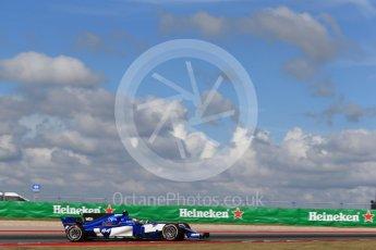 World © Octane Photographic Ltd. Formula 1 - American Grand Prix - Friday - Practice 2. Pascal Wehrlein – Sauber F1 Team C36. Circuit of the Americas, Austin, Texas, USA. Friday 20th October 2017. Digital Ref: 1987LB2D6206