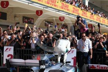 World © Octane Photographic Ltd. Formula 1 - American Grand Prix - Sunday - Race Podium. Lewis Hamilton - Mercedes AMG Petronas F1 W08 EQ Energy+. Circuit of the Americas, Austin, Texas, USA. Sunday 22nd October 2017. Digital Ref: 1995LB1D0219