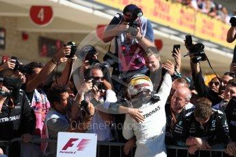 World © Octane Photographic Ltd. Formula 1 - American Grand Prix - Sunday - Race Podium. Lewis Hamilton - Mercedes AMG Petronas F1 W08 EQ Energy+. Circuit of the Americas, Austin, Texas, USA. Sunday 22nd October 2017. Digital Ref: 1995LB1D0292