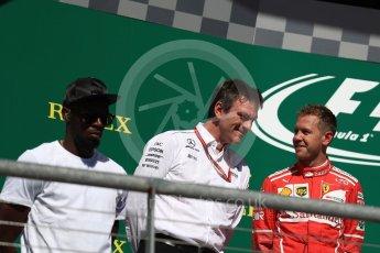 World © Octane Photographic Ltd. Formula 1 - American Grand Prix - Sunday - Race. Sebastian Vettel - Scuderia Ferrari SF70H and James Allison - Technical Director of Mercedes-AMG Petronas Motorsport. Circuit of the Americas, Austin, Texas, USA. Sunday 22nd October 2017. Digital Ref: 1995LB1D0606