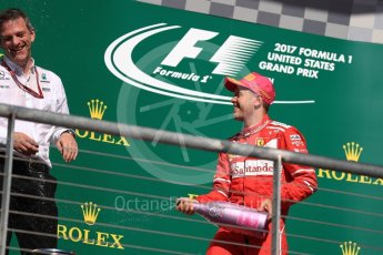World © Octane Photographic Ltd. Formula 1 - American Grand Prix - Sunday - Race Podium. Sebastian Vettel - Scuderia Ferrari SF70H. Circuit of the Americas, Austin, Texas, USA. Sunday 22nd October 2017. Digital Ref: 1995LB1D0811