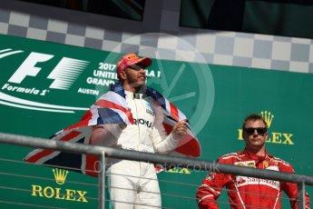 World © Octane Photographic Ltd. Formula 1 - American Grand Prix - Sunday - Race Podium. Lewis Hamilton - Mercedes AMG Petronas F1 W08 EQ Energy+. Circuit of the Americas, Austin, Texas, USA. Sunday 22nd October 2017. Digital Ref: 1995LB1D1010
