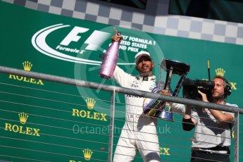 World © Octane Photographic Ltd. Formula 1 - American Grand Prix - Sunday - Race Podium. Lewis Hamilton - Mercedes AMG Petronas F1 W08 EQ Energy+. Circuit of the Americas, Austin, Texas, USA. Sunday 22nd October 2017. Digital Ref: 1995LB1D1291
