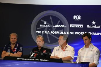 World © Octane Photographic Ltd. Formula 1 - American Grand Prix – Friday Team Press Conference. Zak Brown - Executive Director of McLaren Technology Group, Robert Fernley - Deputy Team Principal of Sahara Force India, Gene Haas - Founder and Chairman of Haas F1 Team and Toto Wolff - Executive Director & Head of Mercedes-Benz Motorsport. Circuit of the Americas, Austin, Texas, USA. Friday 20th October 2017. Digital Ref: 1988LB2D6546