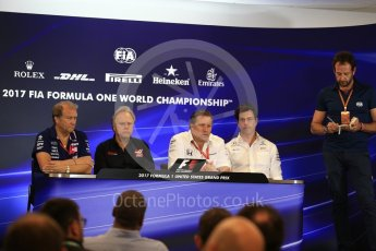 World © Octane Photographic Ltd. Formula 1 - American Grand Prix – Friday Team Press Conference. Zak Brown - Executive Director of McLaren Technology Group, Robert Fernley - Deputy Team Principal of Sahara Force India, Gene Haas - Founder and Chairman of Haas F1 Team and Toto Wolff - Executive Director & Head of Mercedes-Benz Motorsport. Circuit of the Americas, Austin, Texas, USA. Friday 20th October 2017. Digital Ref: 1988LB2D6569
