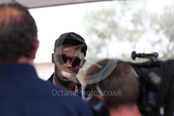 World © Octane Photographic Ltd. Formula 1 - American Grand Prix - Sunday - Paddock. Usain Bolt meets with the media. Circuit of the Americas, Austin, Texas, USA. Sunday 22nd October 2017. Digital Ref: 1992LB1D8204
