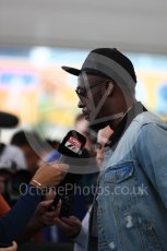 World © Octane Photographic Ltd. Formula 1 - American Grand Prix - Sunday - Paddock. Usain Bolt meets with the media. Circuit of the Americas, Austin, Texas, USA. Sunday 22nd October 2017. Digital Ref: 1992LB1D8293