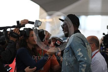 World © Octane Photographic Ltd. Formula 1 - American Grand Prix - Sunday - Paddock. Usain Bolt meets with the media. Circuit of the Americas, Austin, Texas, USA. Sunday 22nd October 2017. Digital Ref: 1992LB1D8300