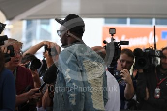 World © Octane Photographic Ltd. Formula 1 - American Grand Prix - Sunday - Paddock. Usain Bolt meets with the media. Circuit of the Americas, Austin, Texas, USA. Sunday 22nd October 2017. Digital Ref: 1992LB1D8307