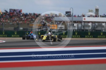 World © Octane Photographic Ltd. Formula 4 – F4 United States Championship - American Grand Prix – Race 1. Circuit of the Americas (COTA), Austin, Texas, USA. Saturday 21st October 2017. Brendon Leitch - Kiwi Motorsport LTD and Kory Enders - DE Force Racing. Digital Ref:1982LB1D7066