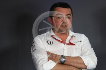World © Octane Photographic Ltd. Formula 1 - Austria Grand Prix – FIA Team Press Conference, Part 1. Eric Boullier - Racing Director of McLaren Honda. Red Bull Ring, Spielberg, Austria. Friday 7th July 2017. Digital Ref: 1866LB1D1467